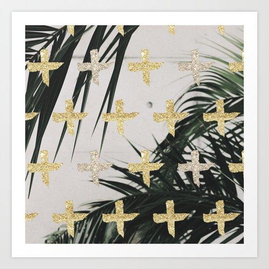 Palms with gold cross Art Print