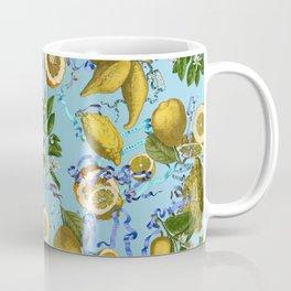vintage lemons and oranges on ribbons of blue Coffee Mug