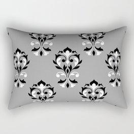 Heart Damask Ptn Black Grey White Rectangular Pillow