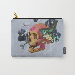 Gold Skull Butterfly Flower Carry-All Pouch
