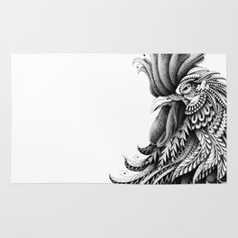 Ornately Decorated Rooster Rug