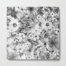 Vintage style black white hand painted watercolor floral Metal Print