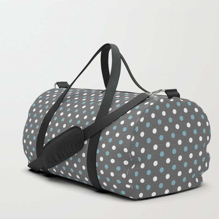 10bcd9c22 Grey white blue polka dot pattern Duffle Bag by temas14mk | Society6