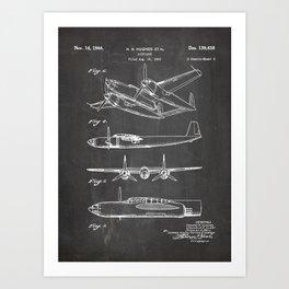 Hughes Lockheed Airplane Patent - Hughes Aviation Art - Black Chalkboard Art Print