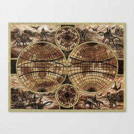 """Victorians Riding Dinosaurs - Double Hemisphere Map"" Canvas Print"