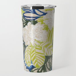 White chrysanthemums -ink floral Travel Mug