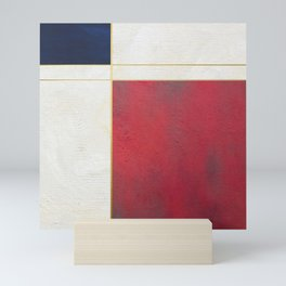 Blue, Red And White With Golden Lines Abstract Painting Mini Art Print