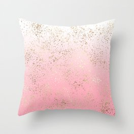 Pink White Ombre Speckled Gold Flakes Throw Pillow