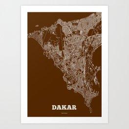 Dakar Streets Map Art Print