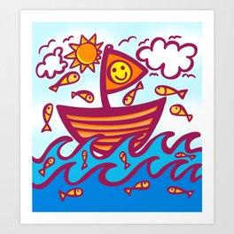 LUCKY FISHING DAY Art Print