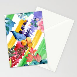 Watercolor Modern Floral Pattern In Blues, Lilacs, & Red Stationery Cards