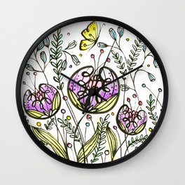 Flowers by Doodling Wall Clock