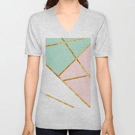 Blush, Mint, White Geo with Gold #1 #minimal #decor #art #society6 Unisex V-Neck