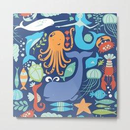 mermaid world animal shrimp shellfish jellyfish jellyfish Metal Print