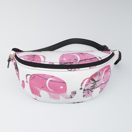 Modern pink black watercolor marble elephant Fanny Pack