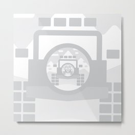 Light Grey digital drawing of a 4x4 adventure vehicle in the mountains Metal Print