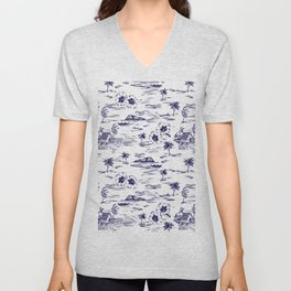 Tropical Island Vintage Hawaii Summer Pattern in Navy Blue Unisex V-Neck