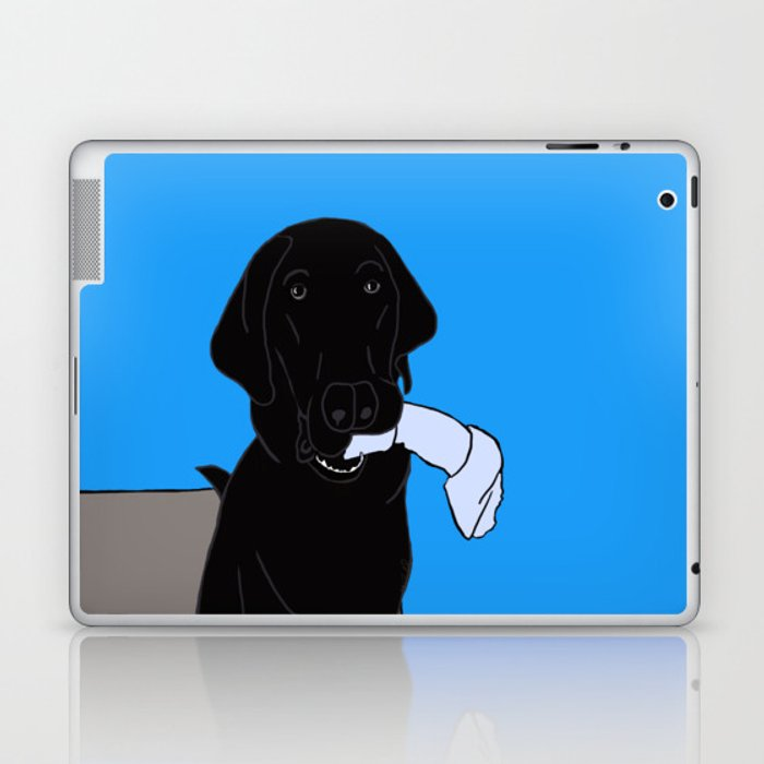 Black Lab With A Bone Laptop & iPad Skin