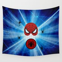 spider man Wall Tapestries featuring Spider Man by haroulita