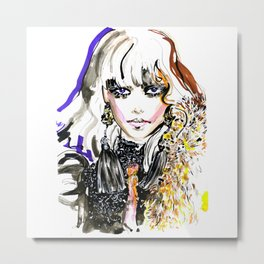 Fashion illustration yellow blue markers Metal Print