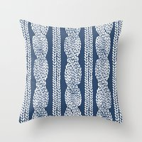 Cable Navy Throw Pillow