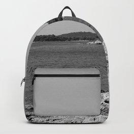 coastline bay at summer pula croatia istria black white Backpack