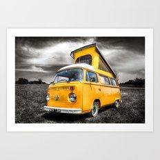 Classic yellow vw camper van Art Print