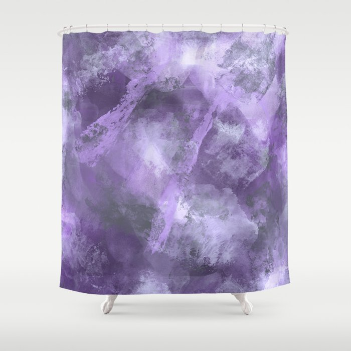 Stormy Abstract Art In Purple And Gray Shower Curtain By Fischerfinearts