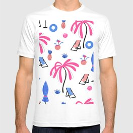 Seamless pattern with palm trees pineapples coconut cocktails sun loungers  inflatable rings balls beach umbrella T-shirt