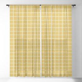 Minimalism Window Pane Grid, Mustard Yellow Sheer Curtain