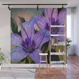 Vintage Painted Lavender Lily Wall Mural