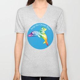 Keep the Ocean Blue_Rainbow Dolphin_B Unisex V-Neck