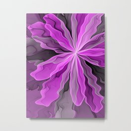 Abstract With Magenta, Modern Fractal Art Metal Print
