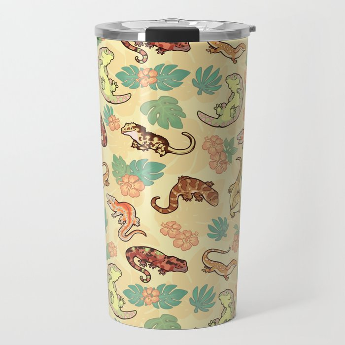 Gecko family in yellow Travel Mug