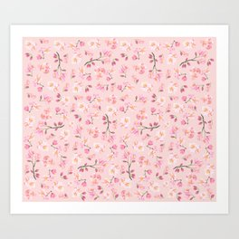 Cherry Blossom Pattern on Peach Background Art Print