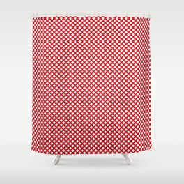 Flame Scarlet and White Polka Dots Shower Curtain