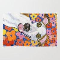 greyhound Area & Throw Rugs featuring Greyhound flowers by AnimalFrenzArt  -- Whimsical animal art