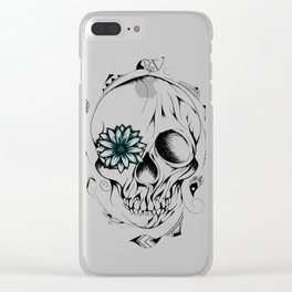 Poetic Wooden Skull Clear iPhone Case