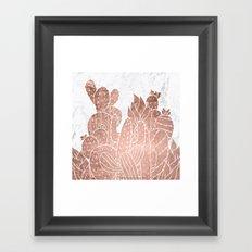 Modern faux rose gold cactus hand drawn pattern illustration white marble Framed Art Print