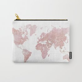 Rose Quartz World Map Carry-All Pouch
