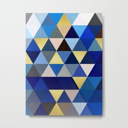 Triangles and gold I Metal Print