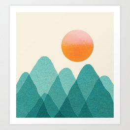 Abstraction_Mountains_SUNSET_Landscape_Minimalism_003 Art Print