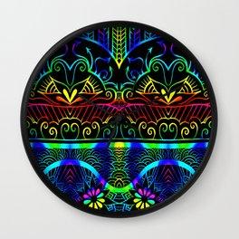 Rainbow Lotus Tangle Wall Clock
