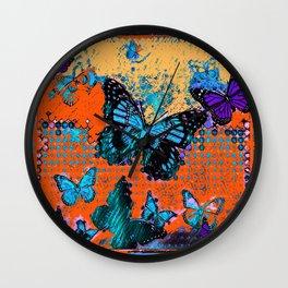 Artistic Orange-Blue Monarch Butterflies Design Pattern Wall Clock