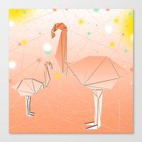 flamingo Canvas Prints featuring FLAMINGO by ARCHIGRAF