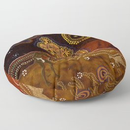Desert Heat - Australian Aboriginal Art Theme Floor Pillow