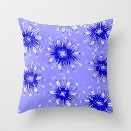 Blue Christie Rose Throw Pillow