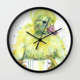 DUCKLING watercolor portrait Wall Clock