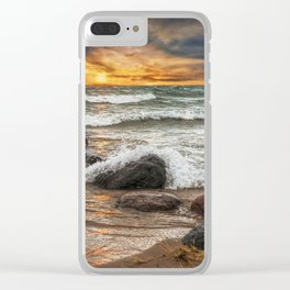 Sunset on Sturgeon Bay in Lake Michigan Clear iPhone Case
