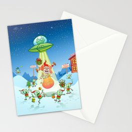 Santa Claus Abducted by a UFO just before Christmas Stationery Cards